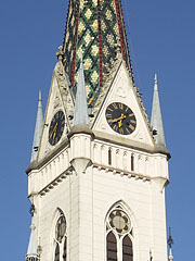 The green ceramic tile-covered spire on the tower of the Sacred Heart Church - Kőszeg, Hungary
