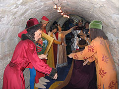 Panopticon or waxworks in the casemate of the Castle of Diósgyőr, wax figures of King Louis I of Hungary and some of his courtiers - Miskolc, Hungary