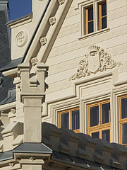 Details of the main facade of the Nádasdy Mansion, including the coat of arms of the family - Nádasdladány, Hungary