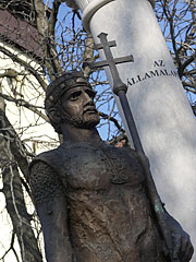 Bronze statue of King St. Stephen I of Hungary on the Millenium Monument, near the Roman Catholic Church - Püspökladány, Hungary