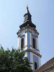 The blue steeple (tower) of the Serbian Orthodox church - Ráckeve, Hungary