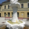The white marble János Vitéz Fountain or John the Vailant's Fountain - Ráckeve, Hungary