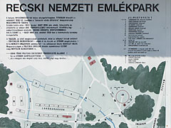 The map of the memorial park with indicating the buildings of the former labor camp - Recsk, Hungary