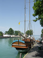 "The ""Szaturnusz"" two-masted sailing yacht, now moored in the harbor - Siófok, Hungary"
