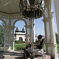 Bronze and stainless chrome steel sculpture of Imre Kálmán Hungarian composer (who was born in Siófok) in the bandstand - Siófok, Hungary