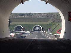 "The circular entrances of the Tunnel ""D"" or ""Véménd"" tunnel, viewed from the ""Baranya"" tunnel - Szekszárd, Hungary"