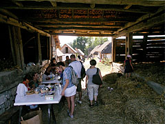 "Handicraft demonstration in the barn (in the ""common yard of the Palóc kin"") - Szentendre, Hungary"