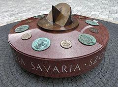 """Emperor's stone"", a two meters in diameter sun-dial, with the portraits of the governors of the ancient Savaria - Szombathely, Hungary"
