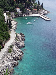 Beach, harbour and the crystal clear azure blue sea - Trsteno, Croatia