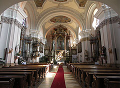Church of the Whites (Fehérek temploma) or the former Dominican Church, the ornate rococo style interior - Vác, Hungary