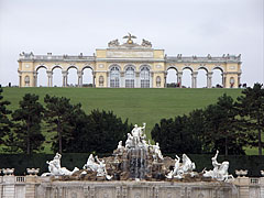 Neptune Fountain, and above it on the top of the hill the Gloriette stands - Vienna, Austria