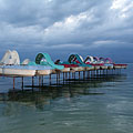 Berthed paddle boats (also known as pedalos or pedal boats) in the lake - Balatonföldvár, ハンガリー