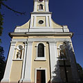 The main facade of the late baroque Christ the King Roman Catholic church - Barcs, ハンガリー