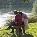 Friends in the autumn sunshine on the Drava bank - Barcs, 헝가리