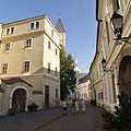 """The Várfok College (former """"Grand Seminary"""") on the left, and the Körmendy House (that includes the Pannon University) on the right - Veszprém, 헝가리"""