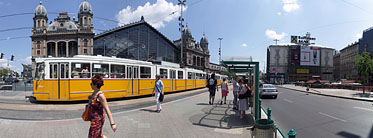 Nyugati Square, Tram stop at the Nyugati Railway Station - Budapest, Hungary